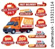 Set of red delivery signs with trucks and labels - stock photo