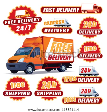 Set of red delivery signs with trucks and labels - stock vector