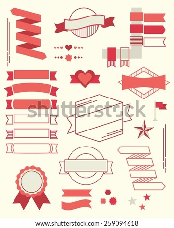 Set of red design element banners, ribbons and emblems - stock vector