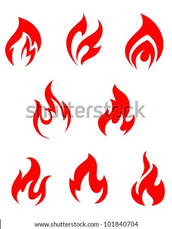 Set of red fire flames for warning symbols, such logo. Jpeg version also available in gallery - stock vector