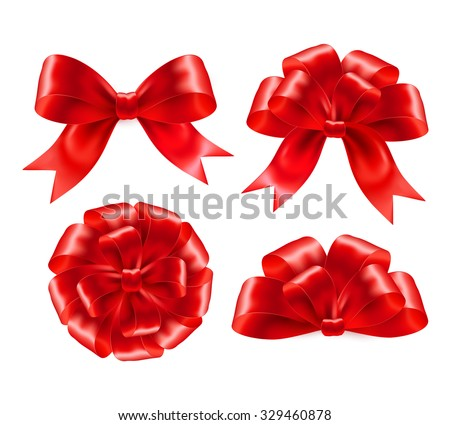 Set of red gift bows with ribbons. Vector illustration EPS 10 - stock vector