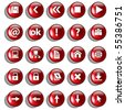 Set of red glossy buttons for web design on white background - stock photo