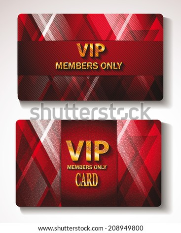 Set of red gold Vip cards with the abstract background - stock vector