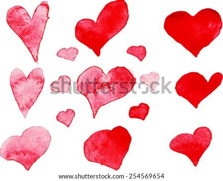 Set of red handmade watercolor hearts, vector element - stock vector