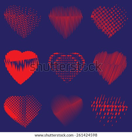 Set of red hearts on blue background, stock vector illustration        - stock vector