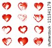 set of red hearts, vector illustration - stock vector