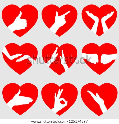 Set of 9 Red Hearts with Hand Gestures, Vector Illustration EPS10