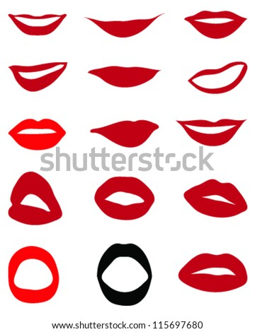 Set of red lips-vector