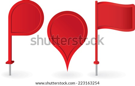 Set of red map pointers pin icons. Vector illustration - stock vector