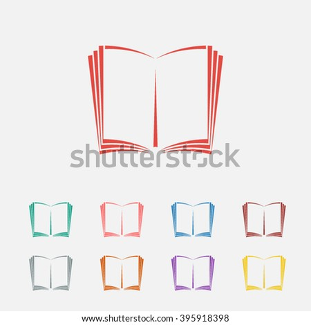 Set of: red Open book vector icon