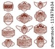 Set of red ornate labels on white background. Grouped for easy editing. Perfect for labels or stickers for wine, tea, coffee, soap, beer, powder, cologne and etc. - stock vector