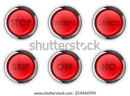 Set of red plastic round buttons with metallic frame: no, delete, stop, cansel, skp - vector drawing isolated on white background - stock vector