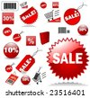 Set of red price tags in vector design - stock vector