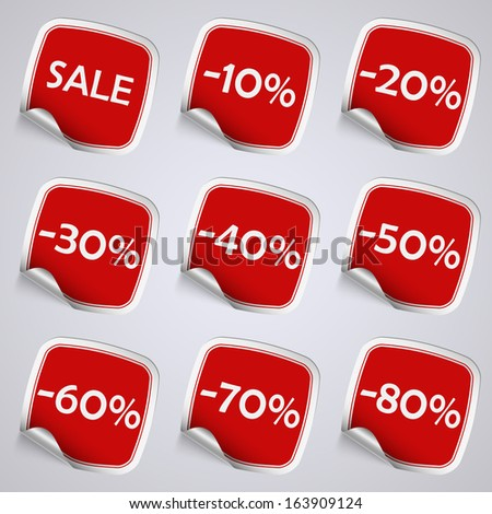 Set of red rectangle sale stickers - stock vector
