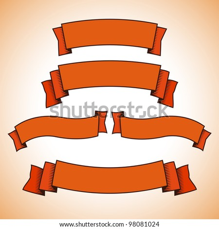 Set of red retro banners or ribbons. Vector illustration - stock vector