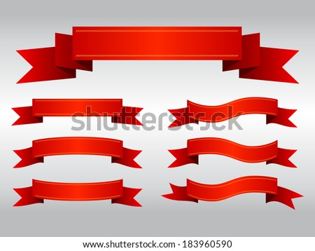 Set of red ribbon banners, Vector graphic - stock vector