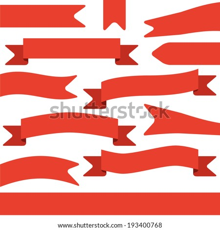 set of red ribbons - stock vector