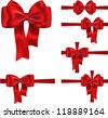 Set of red ribbons with luxurious bows for decorating gifts and cards. Vector illustration - stock vector