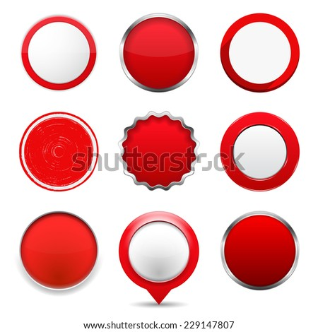Set of red round buttons on white background, vector eps10 illustration