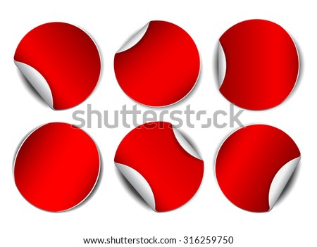 Set of red round promotional stickers.  Vector illustration - stock vector