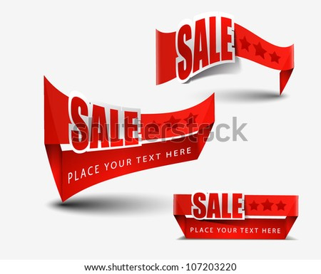 set of red sale tag vector design.