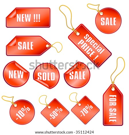 set of red sale tags and stickers