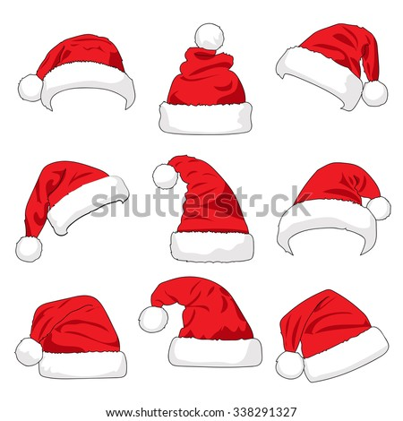 Set of red Santa Claus hats isolated on white background illustration