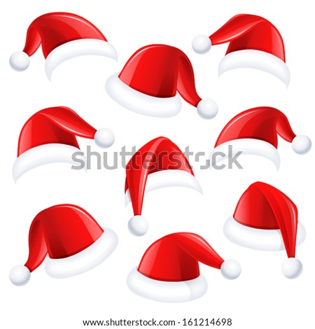 Set of red santa hats - stock vector