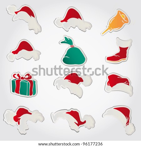 set of red santa hats and clothing and christmas icons