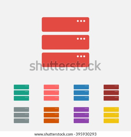 Set of: red Server vector icon