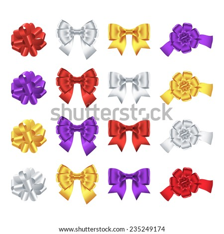 Set of red, silver, gold, purple ribbon bows isolated on white. Vector illustration - stock vector