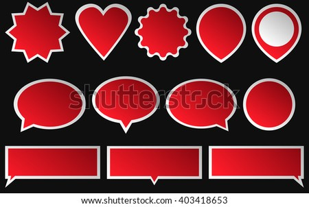 Set of red stickers isolated on dark background. Various shapes of a red stickers.