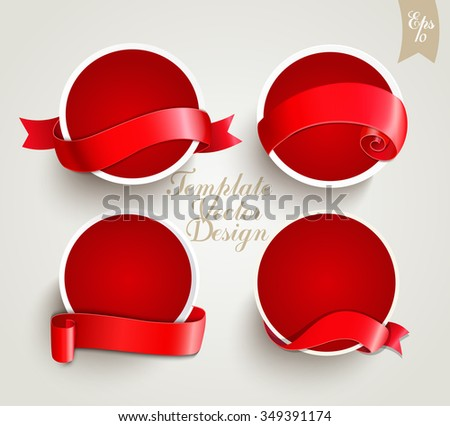 Set of red template labels with ribbons for your design. Retro vintage style, vector illustration. - stock vector