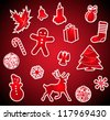 Set of Red Vector Christmas Icons - stock vector