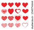 Set of red vector hearts icons. - stock vector