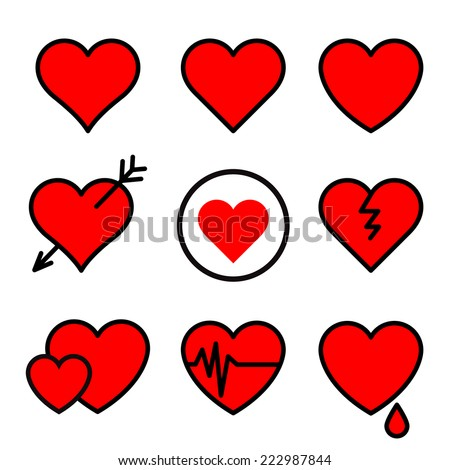 Set of red vector hearts stroked black - stock vector