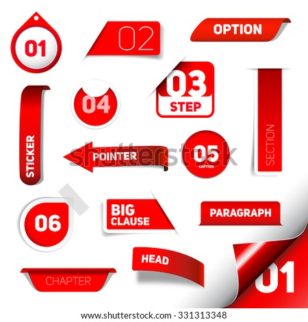 Set of red vector progress step icons, version, labels, stamps, stickers, corners, tags - vector - stock vector