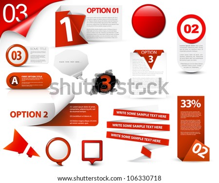 Set of red vector progress, version, step icons