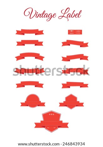 Set of red vector retro ribbons, labels - stock vector