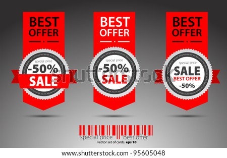 Set of red vector sale tickets. - stock vector