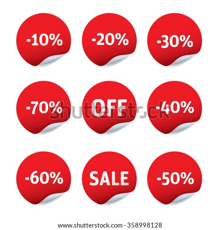 Set of red vector stickers - OFF, SALE