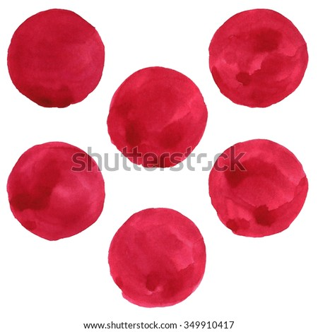 set of red watercolor circles. vector
