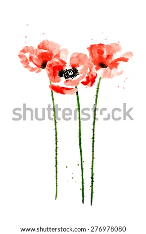 Set of red watercolor poppy flowers - stock vector