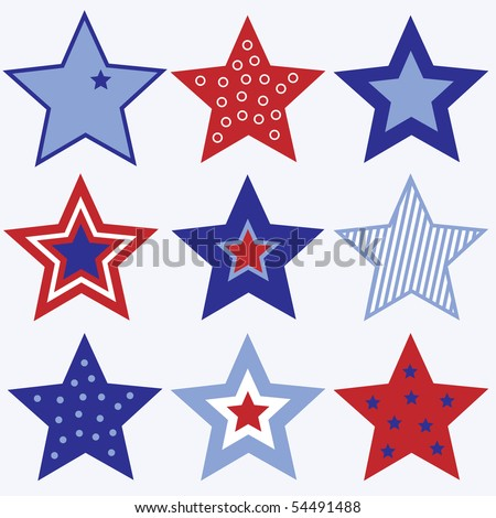 Set of Red White and Blue Stars Vector - stock vector
