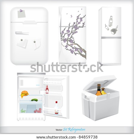 Set of refrigerators with labels and products - stock vector