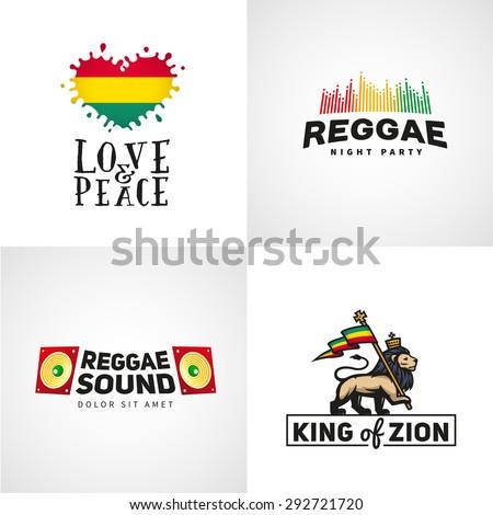 Set of reggae music vector design. Love and peace concept. Judah lion with a rastafari flag. King of Zion logo illustration. - stock vector