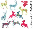 Set of Reindeer Christmas Silhouettes - for your design or scrapbook - in vector - stock photo