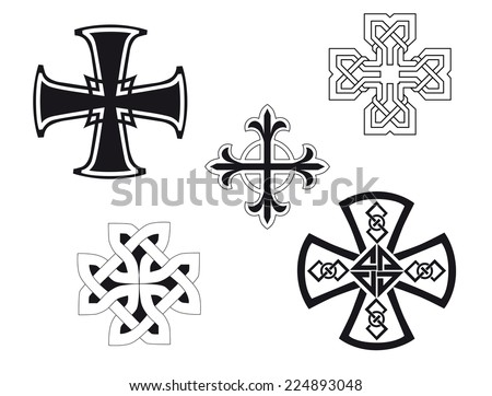 Set of religious crosses for design and decorate - stock vector