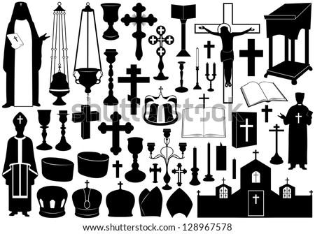 Set of religious elements - stock vector