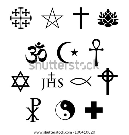 set of 14 religious icons - stock vector